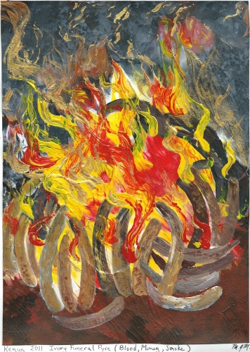 The burning of smuggled ivory.