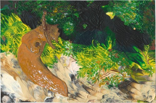 A painting of a banana slug.