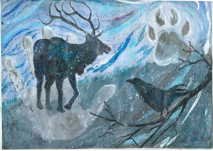 A painting of an Elk and wolf paw, signifying the interrelationship of these animals.