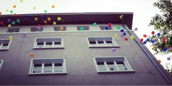 building with balloons